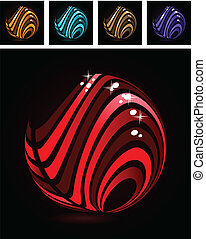 Abstract symbol made of glossy red stripes