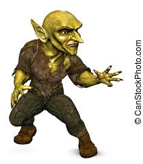 Goblin demon attacking - Green Goblin Demon in fighting...