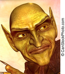 Goblin Demon Head shot - Evil green goblin demon closeup of...