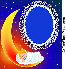 frame on moon child sweetly sleeps - illustration frame on...