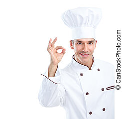Chef - Smiling chef. Isolated over white background....