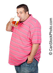 Fat man drinking a jar of beer isolated on white background
