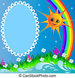 frame with sun butterfly and rainbow