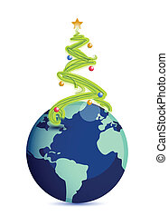 christmas tree in top of the globe