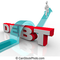 Getting Over Debt Overcome Financial Problem Crisis - A man...