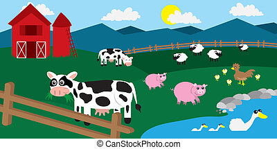 Farm Barnyard Animals - Cartoon farm with various animals...