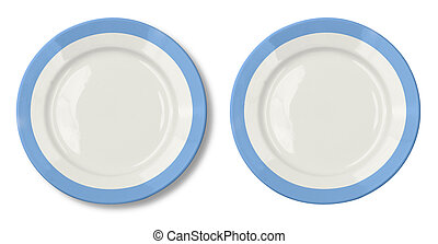 Round plate with blue border isolated on white with clipping path included