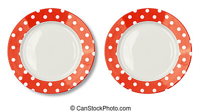Round plate with red border isolated on white with clipping...