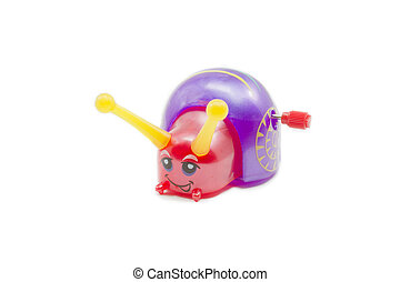 Wind Up Snail - A colorful toy wind up snail with a pruple...