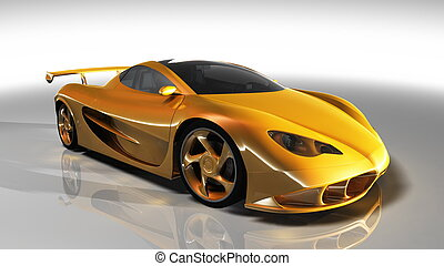 Sports car - Side of the yellow sports car