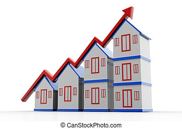 House and increasing arrow - Highly rendering of house and...