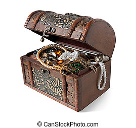 treasure chest with valuables, isolated over white...
