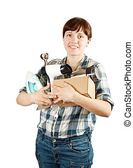 woman with heavy-handed of household appliances