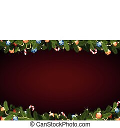 Christmas Background - Christmas frame with fir-tree...