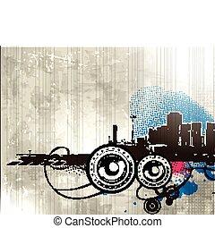 Grunge styled urban music background