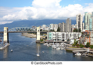 Burrard and skyline of south Vancouver BC Canada. - The...