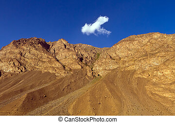 Mountain and cloud - View of afghan mountains Blue sky and...