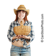 Happy pastoral  woman with basket
