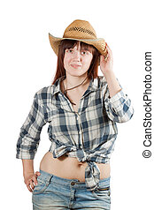 Pastoral  woman in  chequered shirt