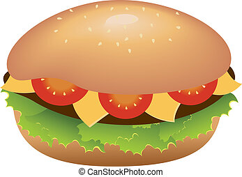Hamburger with cheese and tomatoes