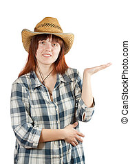 woman in  chequered shirt points hand
