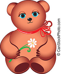 Little teddy bear with flower.