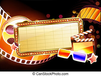 marquee sign - illustration of retro illuminated movie...