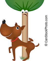 Dog urinating on tree Illustration on white background