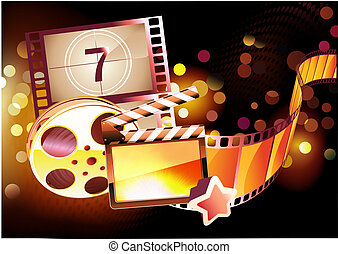 abstract cinema background - Vector illustration of orange...