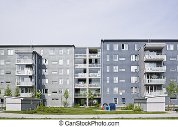 Apartment Building - View of a Residential District on a...