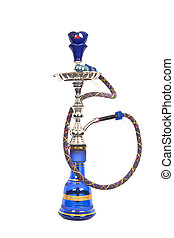 Isolated blue and silver arabic waterpipe