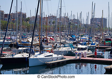 yachts lying at Port Vell. Barcelona