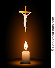 Christian cross symbol with candle light Easter illustration...