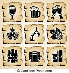 icons beer - set vector symbol beer and ingredients