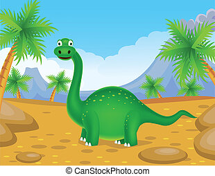 Green dinosaur - Vector illustration of green dinosaur...