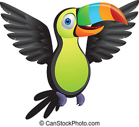 Toucan bird - Vector illustration of toucan bird, linear and...