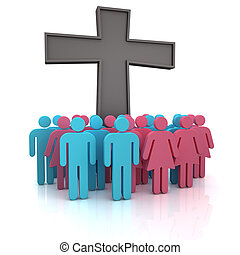 Church congregation - Group of the people standing at a...