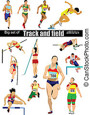 Big cet of Track and field athletes Vector illustration