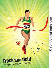Man running poster. Vector illustar