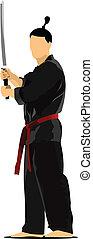 Samurai with the  sword. Vector il
