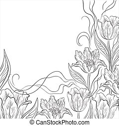 Flowers tulips, background - flower background, contours...