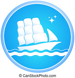 ship and ocean - Sailing ship in the ocean in the blue...