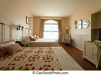interior of bedroom with two double bed