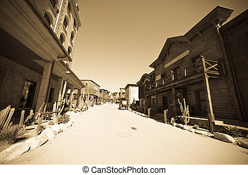 Wild west town - Wide angle vintage photo of Far west town