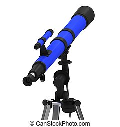 Blue Telescope on a white background