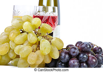 Bottle of wine with glasses of wine and grapes isolated in white