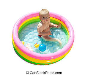 Baby swimming  in kid inflatable pool