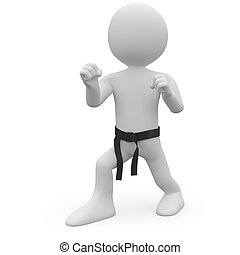 Karate man in combat position I Rendered on a white...