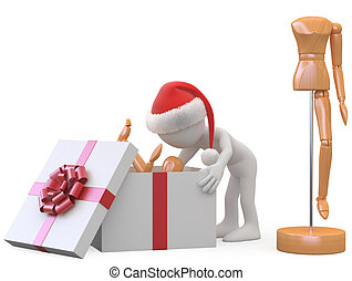 Man with Santa opening a gift