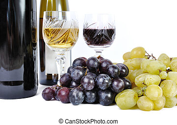 Two bottles of wine with two glasses of wine and grapes isolated in white